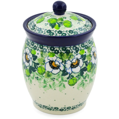 "Polish Pottery Jar with Lid 5"" Daisies Wreath UNIKAT"