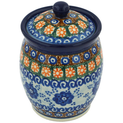 "Polish Pottery Jar with Lid 5"" Dancing Blue Poppies UNIKAT"