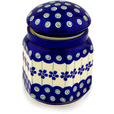 "Polish Pottery Jar with Lid 5"" Flowering Peacock"