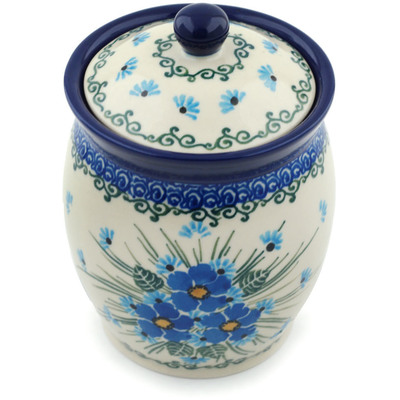 "Polish Pottery Jar with Lid 5"" Forget Me Not UNIKAT"