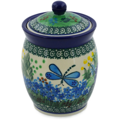 "Polish Pottery Jar with Lid 5"" Garden Delight UNIKAT"