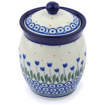 "Polish Pottery Jar with Lid 5"" Water Tulip"
