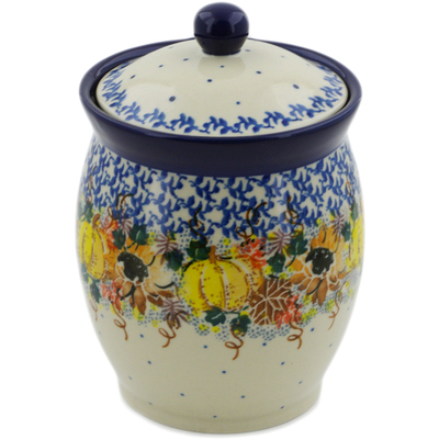 "Polish Pottery Jar with Lid 6"" Autumn Falling Leaves UNIKAT"