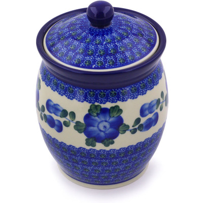 "Polish Pottery Jar with Lid 6"" Blue Poppies"