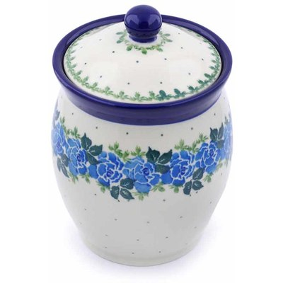 "Polish Pottery Jar with Lid 6"" Blue Rose"