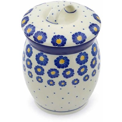 "Polish Pottery Jar with Lid 6"" Blue Zinnia"