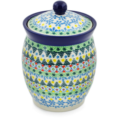 "Polish Pottery Jar with Lid 6"" Christmas Forest UNIKAT"