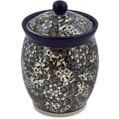 "Polish Pottery Jar with Lid 6"" Classic Black And White UNIKAT"