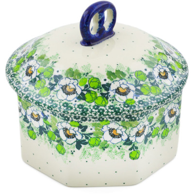 "Polish Pottery Jar with Lid 6"" Daisies Wreath UNIKAT"