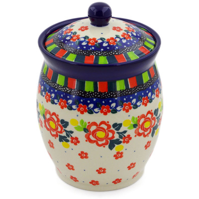 "Polish Pottery Jar with Lid 6"" Floral Puzzles UNIKAT"
