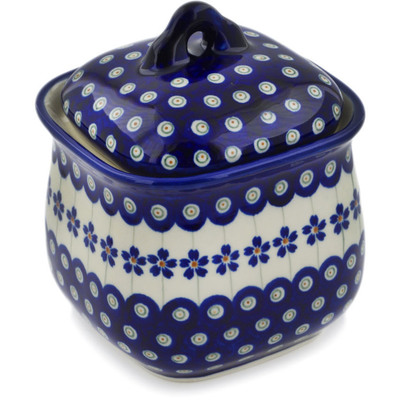 "Polish Pottery Jar with Lid 6"" Flowering Peacock"