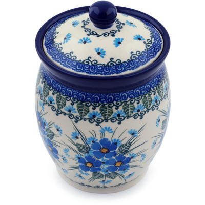 "Polish Pottery Jar with Lid 6"" Forget Me Not"
