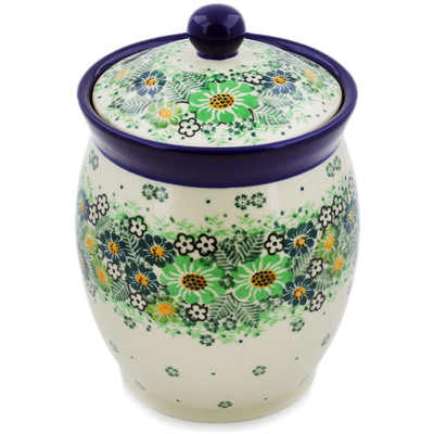 "Polish Pottery Jar with Lid 6"" Green Wreath UNIKAT"