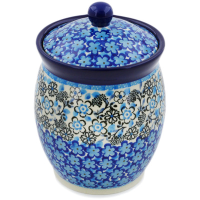 "Polish Pottery Jar with Lid 6"" Out Of Blue UNIKAT"