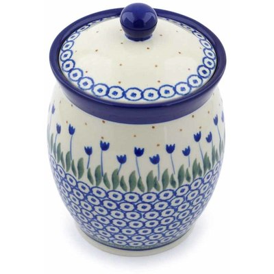 "Polish Pottery Jar with Lid 6"" Water Tulip"