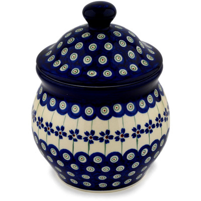 "Polish Pottery Jar with Lid 7"" Flowering Peacock"