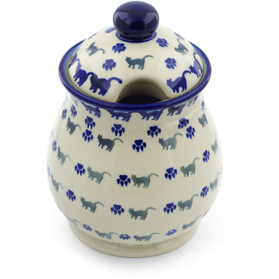"Polish Pottery Jar with Lid 8"" Boo Boo Kitty Paws"