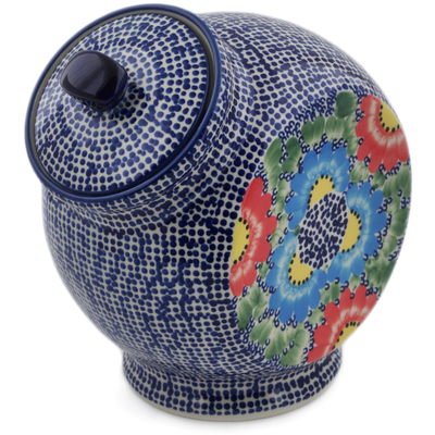 "Polish Pottery Jar with Lid 8"" Spotted Garden UNIKAT"