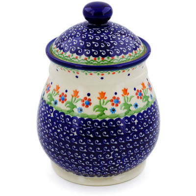 "Polish Pottery Jar with Lid 8"" Spring Flowers"