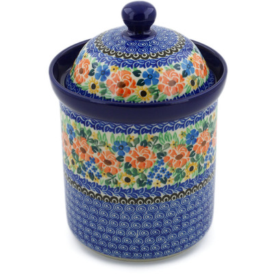 "Polish Pottery Jar with Lid 8"" Summer Fields UNIKAT"