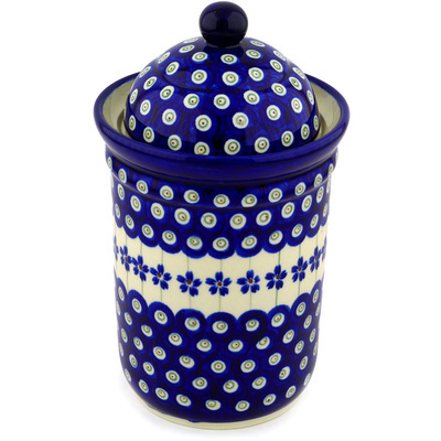 "Polish Pottery Jar with Lid 9"" Flowering Peacock"