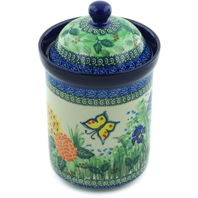 "Polish Pottery Jar with Lid 9"" Spring Garden UNIKAT"