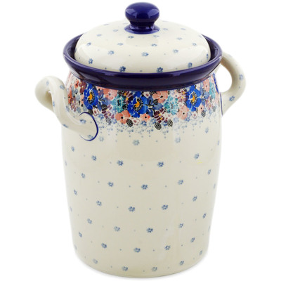 "Polish Pottery Jar with Lid and Handles 11"" Autumn Bunch UNIKAT"
