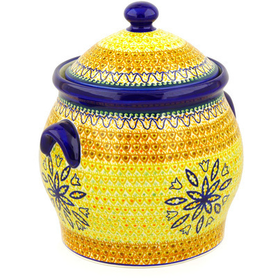 "Polish Pottery Jar with Lid and Handles 11"" Golden Tulip UNIKAT"