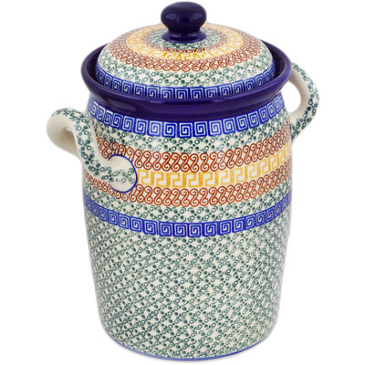 "Polish Pottery Jar with Lid and Handles 11"" Grecian Sea"