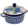 "Polish Pottery Jar with Lid and Handles 5"" Cobblestone Garden"