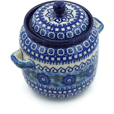 Polish Pottery Jar with Lid and Handles 6-inch Alpine Spring UNIKAT