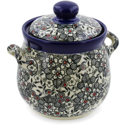 "Polish Pottery Jar with Lid and Handles 6"" Classic Black And White UNIKAT"