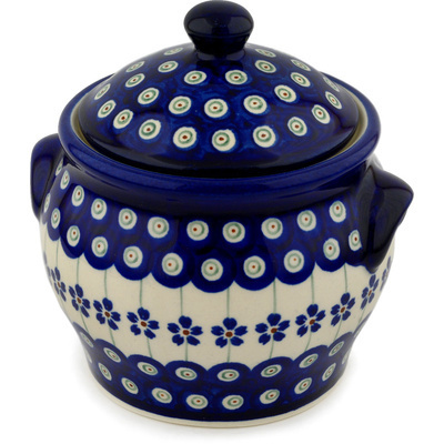 "Polish Pottery Jar with Lid and Handles 6"" Flowering Peacock"