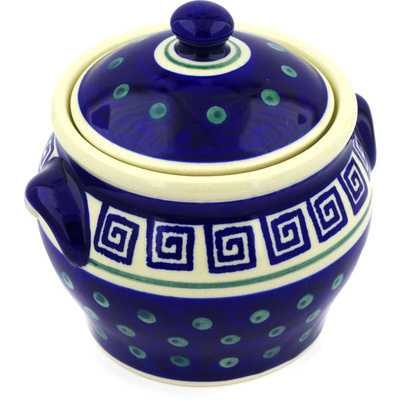 "Polish Pottery Jar with Lid and Handles 6"" Greek Key"