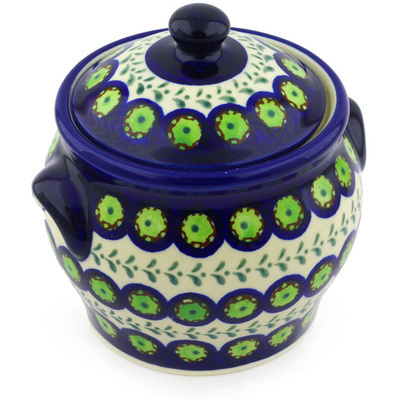 "Polish Pottery Jar with Lid and Handles 6"" Green Laurel Peacock"