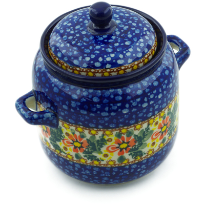 Polish Pottery Jar with Lid and Handles 6-inch Hidden Sunflower UNIKAT
