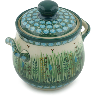 "Polish Pottery Jar with Lid and Handles 6"" Prairie Land UNIKAT"