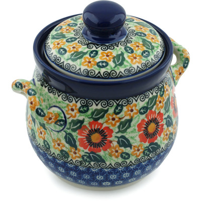 "Polish Pottery Jar with Lid and Handles 6"" Sunday Morning UNIKAT"