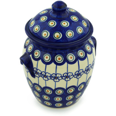 "Polish Pottery Jar with Lid and Handles 7"" Flowering Peacock"
