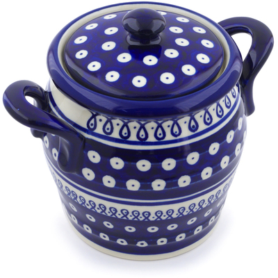 "Polish Pottery Jar with Lid and Handles 7"" Merry Go Round"
