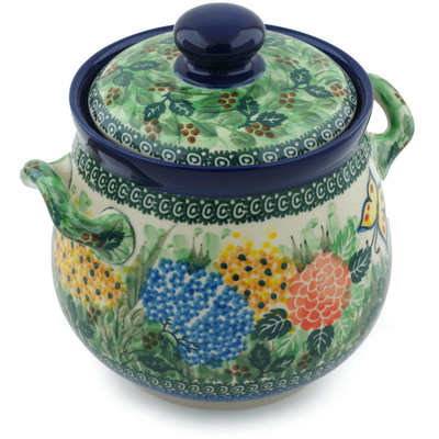 "Polish Pottery Jar with Lid and Handles 7"" Spring Garden UNIKAT"