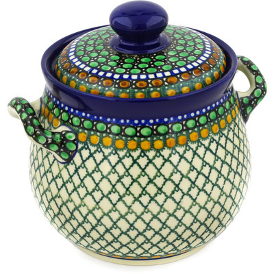"Polish Pottery Jar with Lid and Handles 7"" Tranquility UNIKAT"