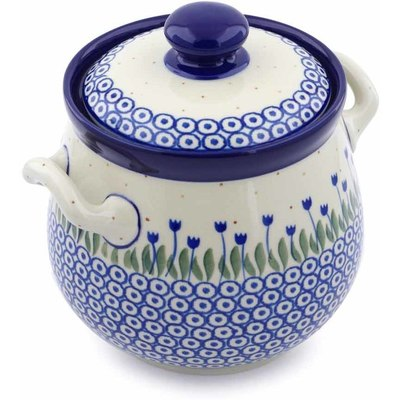 "Polish Pottery Jar with Lid and Handles 7"" Water Tulip"