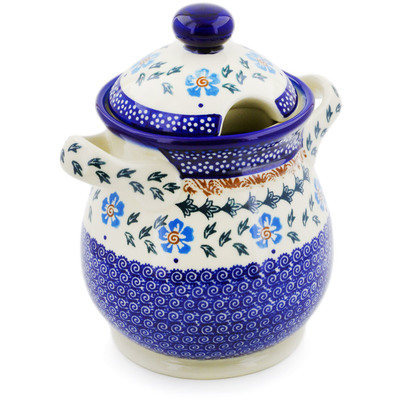 "Polish Pottery Jar with Lid and Handles 8"" Blue Cornflower"