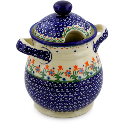 "Polish Pottery Jar with Lid and Handles 8"" Spring Flowers"
