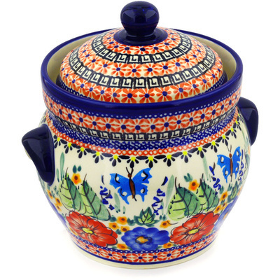 "Polish Pottery Jar with Lid and Handles 8"" Spring Splendor UNIKAT"