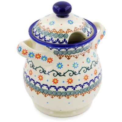 "Polish Pottery Jar with Lid and Handles 8"" Sunflower Dance"