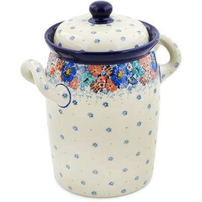 "Polish Pottery Jar with Lid and Handles 9"" Autumn Bunch UNIKAT"