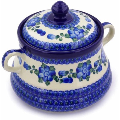 "Polish Pottery Jar with Lid and Handles 9"" Blue Poppies"