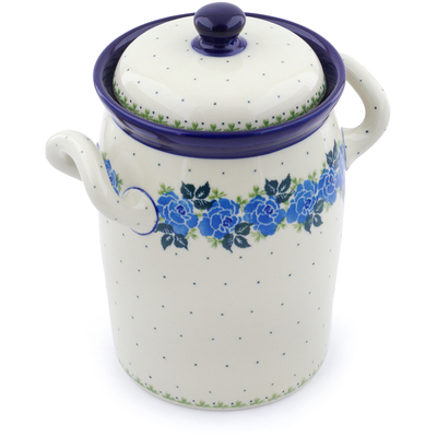 "Polish Pottery Jar with Lid and Handles 9"" Blue Rose"